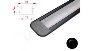 Réglette LED Encastrable - 21x9mm - Noir + Alimentation 12V