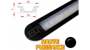 Réglette LED Encastrable - Haute Puissance - 24x7mm - Noire + Alimentation 12V