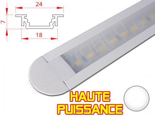 Réglette LED Encastrable - Haute Puissance - 24x7mm - Aluminium + Alimentation 12V