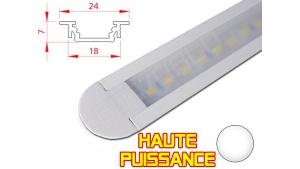 Réglette LED Encastrable - Haute Puissance - 24x7mm - Blanche + Alimentation 12V