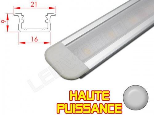 Réglette LED Encastrable Haute Puissance - 21x9mm - Aluminium + Alimentation 12V