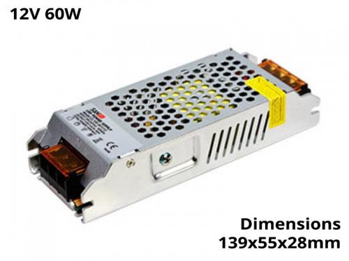 Alimentation Transformateur Convertisseur Ruban Led 60 Watts 12V
