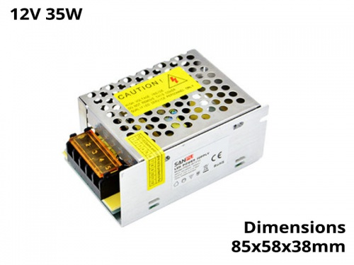 Alimentation Transformateur Convertisseur Ruban Led 35 Watts 12V IP20