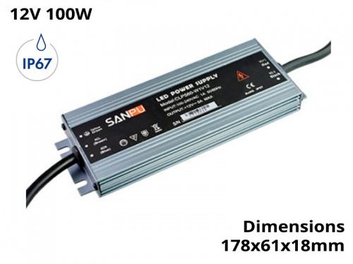 Alimentation Transformateur Convertisseur Led Etanche 100w 12V IP67