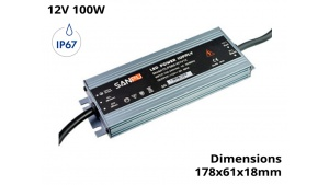 Alimentation Transformateur Etanche IP67 100 Watts 12V