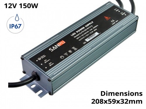 Alimentation Transformateur Etanche IP67 150 Watts 12V