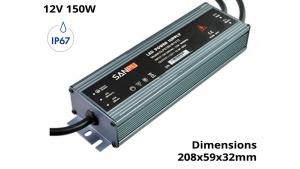 Alimentation Transformateur à découpage pour LED - Etanche IP67 150 Watts 12V