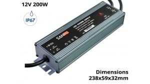 Alimentation Transformateur Etanche IP67 200 Watts 12V