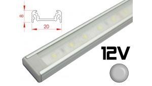 Réglette LED plate 20x8mm Couleur Alu Camping Car/Utilitaire 12V