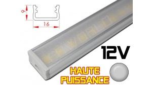 Réglette LED plate Haute Puissance 16x9mm - Couleur Alu Camping Car/Utilitaire 12V
