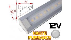 Réglette LED Inclinée 30° Haute Puissance 20x16mm - Couleur Alu Camping Car/Utilitaire 12V