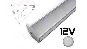 Réglette LED inclinée 45° 16x16mm Couleur Alu Camping Car/Utilitaire 12V