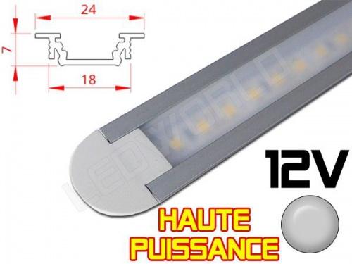 Réglette LED Encastrable Haute Puissance 24x7mm - Couleur Alu Camping Car/Utilitaire 12V