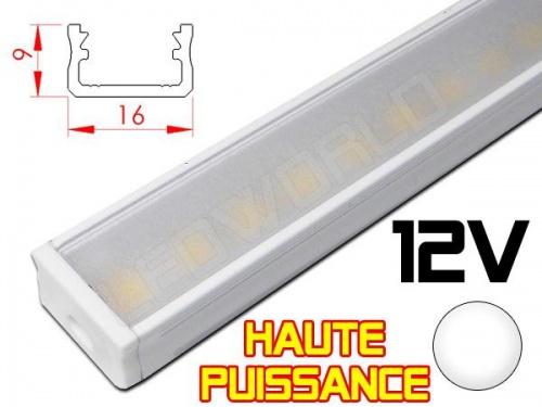 Réglette LED plate Haute Puissance16x9mm - Couleur Alu Camping Car/Utilitaire 12V