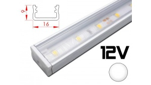 Réglette LED plate 16x9mm Couleur Blanche Camping Car/Utilitaire 12V