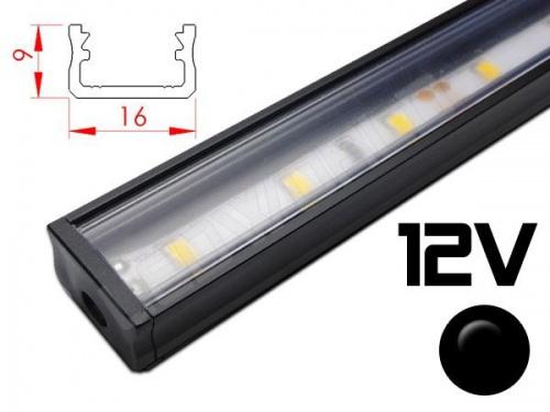 Réglette LED plate 16x9mm Couleur noire Camping Car/Utilitaire 12V
