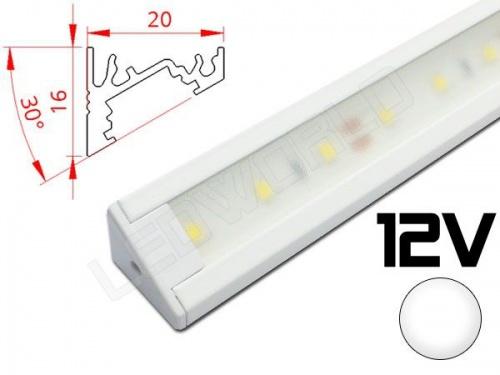 Réglette LED inclinée 30° 20x16mm Couleur blanche Camping Car/Utilitaire 12V