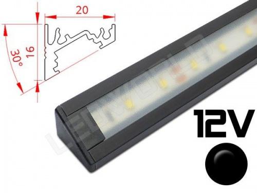 Réglette LED inclinée 30° 20x16mm Couleur Alu Camping Car/Utilitaire 12V