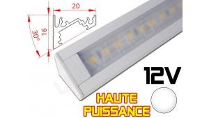 Réglette LED Inclinée 30° Haute Puissance 20x16mm - Couleur Blanche Camping Car/Utilitaire 12V