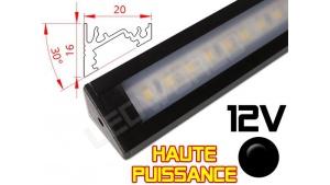 Réglette LED Inclinée 30° Haute Puissance 20x16mm - Couleur Noire Camping Car/Utilitaire 12V