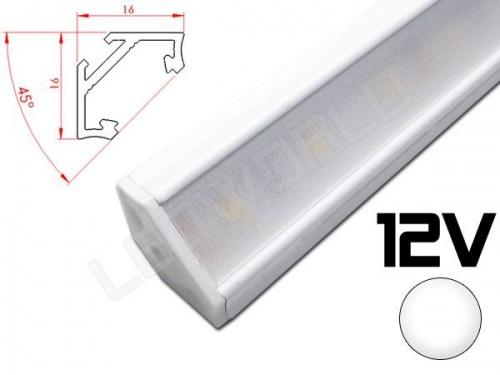 Réglette LED inclinée angulaire 45° 16x16mm Couleur blanche Camping Car/Utilitaire 12V