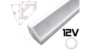 Réglette LED inclinée 45° 16x16mm Couleur Blanche Camping Car/Utilitaire 12V