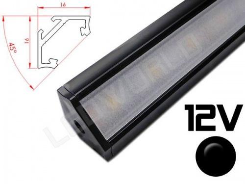 Réglette LED inclinée 45° 16x16mm Couleur noire Camping Car/Utilitaire 12V