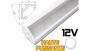 Réglette LED Haute Puissance inclinée 45° 16x16mm Couleur Blanche Camping Car/Utilitaire 12V