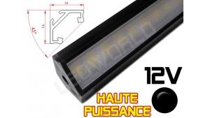 Réglette LED Haute Puissance inclinée 45° 16x16mm Couleur Noire Camping Car/Utilitaire 12V