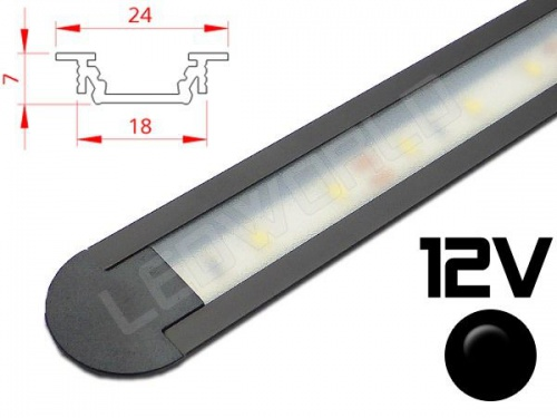 Réglette LED castrable 24x7mm Couleur Alu Camping Car/Utilitaire 12V