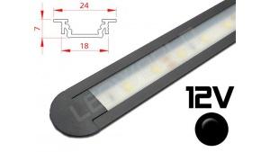 Réglette LED Encastrable 24x7mm Couleur Noire Camping Car/Utilitaire 12V
