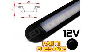 Réglette LED Encastrable Haute Puissance 24x7mm - Couleur Noire Camping Car/Utilitaire 12V
