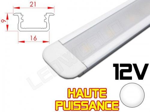 Réglette LED Encastrable Haute Puissance 21x9mm - Couleur Alu Camping Car/Utilitaire 12V