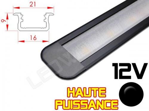 Réglette LED Encastrable Haute Puissance 21x9mm - Couleur Noire Camping Car/Utilitaire 12V