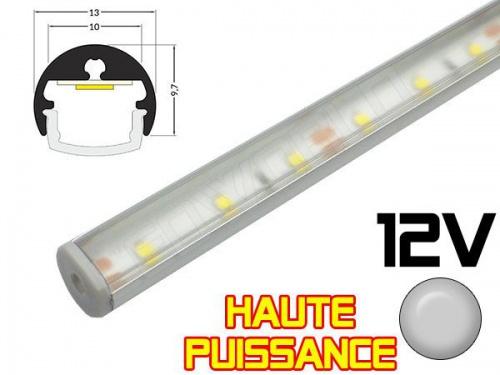 Réglette LED Orientable Haute Puissance Ø13mm - Couleur Alu Camping Car/Utilitaire 12V