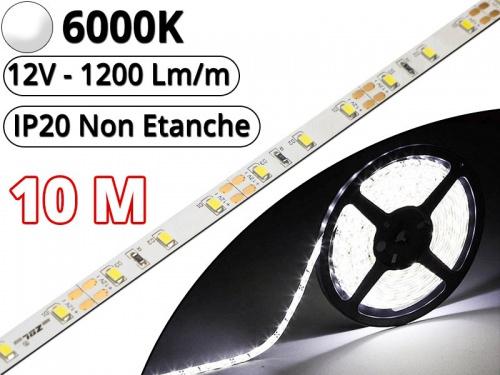 Ruban Led Pro Blanc Pur 6000K -10 mètres-IP20