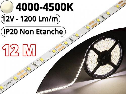 Ruban Led Pro Blanc Naturel 4500K - 12 mètres-IP20