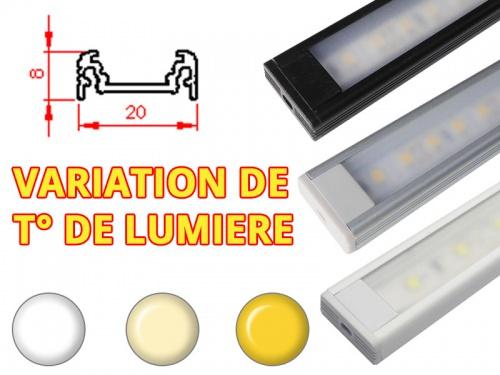 Réglette LED Plate 20x8mm-Changement Température (CCT) + Alimentation 12V