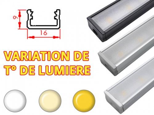 Réglette LED Plate 16x9mm-Changement Température (CCT) + Alimentation 12V