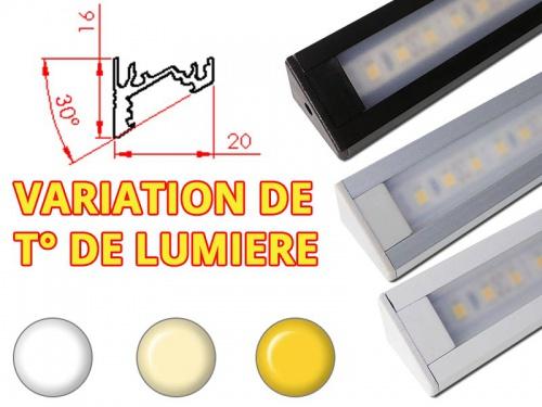 Réglette LED Inclinée 30° 20x16mm-Changement Température (CCT) + Alimentation 12V