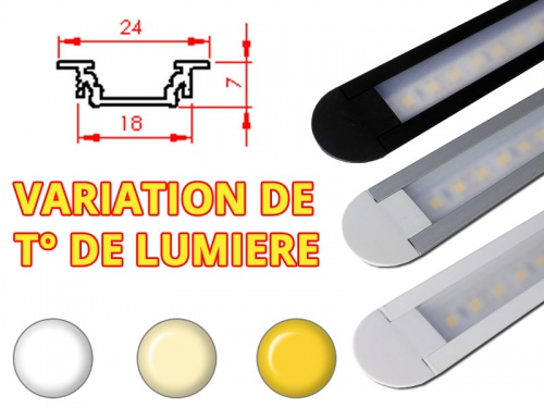 Réglette LED Encastrable 24x7mm-Changement Température (CCT) + Alimentation 12V